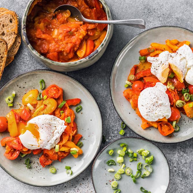 Peperonata with poached egg