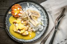 Riz Casimir with banana, pear and peach