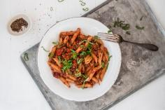 Penne with lentil bolognese