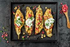 Grilled aubergine with pomegranate and chickpeas