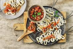 Calamari skewers with salsa