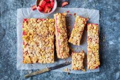 Rhubarb crumble slices