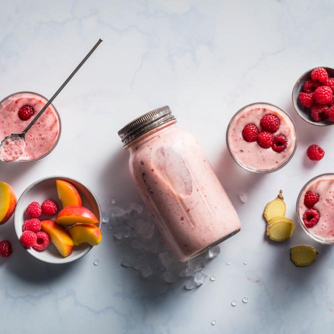 Nectarine and raspberry shake
