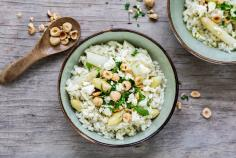Asparagus risotto with feta
