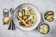 Trout saltimbocca with courgette risotto