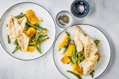Perch fillets with beans and sweetcorn