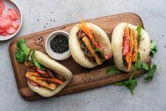 Vegan bao buns with tofu and mushrooms