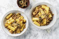 Rigatoni with mince and caper pesto