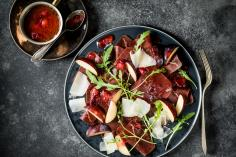 Dried venison carpaccio with plums