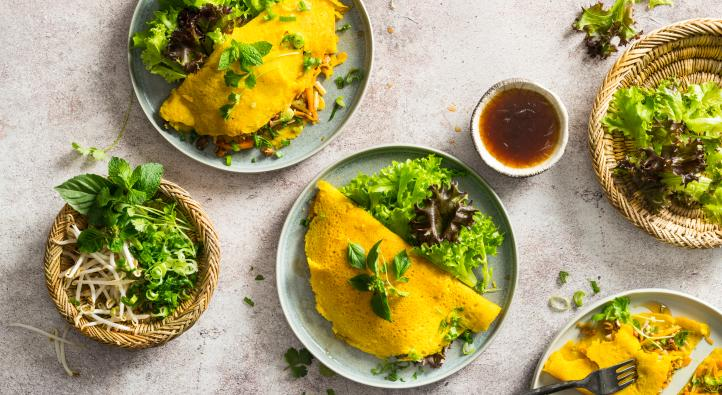 Banh xeo pancakes with vegetable filling