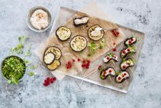 Aubergines with ricotta and redcurrants