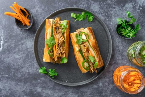 Vegan Bánh Mì with mushrooms