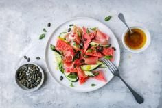 Watermelon and cucumber salad with cured ham