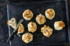 Mince and apple strudel parcels