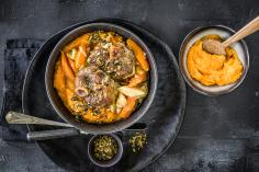 Braised pork knuckles with squash puree