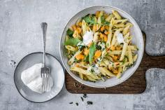 Penne with squash and rocket
