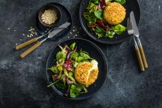 Oat-crumbed cheese with salad