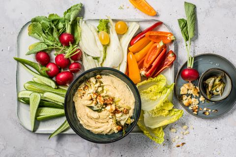 Spring onion and feta dip with cashews