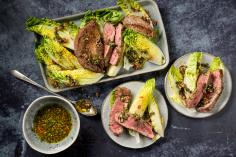 Rib eye steaks with radish chimichurri