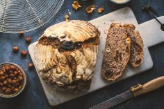 Sourdough rye bread with fruit and nuts