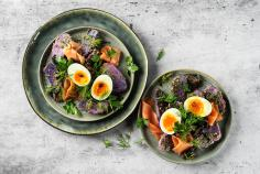 Purple potato salad with salmon