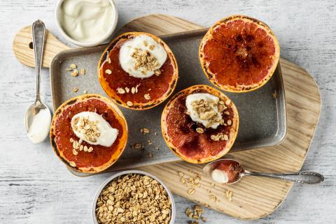 Grapefruit brûlée with granola