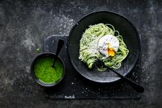 Spaghettini with kale pesto