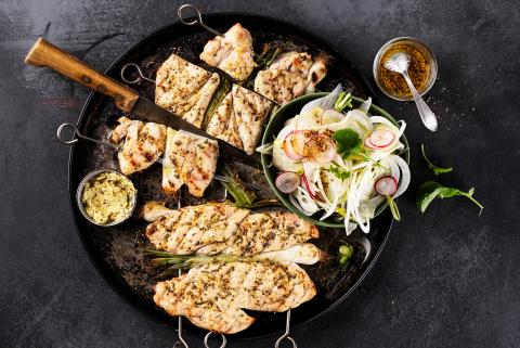 Chicken skewers with mustard and rosemary butter