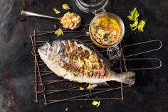 Grilled sea bream with rhubarb salsa