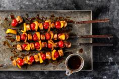 Marinated veal sausage kebabs