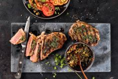 Veal steak with herb marinade