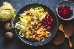 Winter chicory salad with cashew lime dressing
