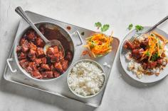 Caramelized pork with pickled carrots