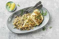 Pike-perch fillet with an almond & mustard crust