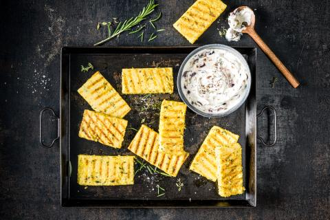 Grilled polenta slices