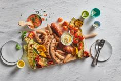 Grilled vegetable and sausage platter