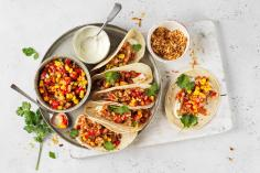 Chicken tacos with strawberry salsa