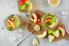 Caipirinha and nectarines bowl