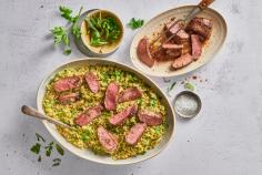 Filetto d'agnello su letto di couscous verde