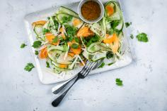 Kohlrabi, cucumber and carrot salad
