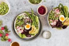 Spring bowl with a lime and sesame vinaigrette