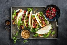Salmon tacos with cherry salsa