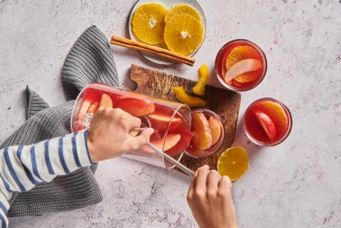 Apple and elderberry punch with orange