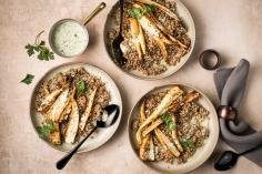 Roasted parsnips with buckwheat risotto