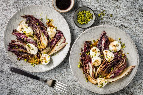 Pan Fried Red Chicory With Buffalo Mozzarella Recipes Fooby Ch