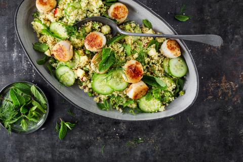 Scallops with quinoa salad