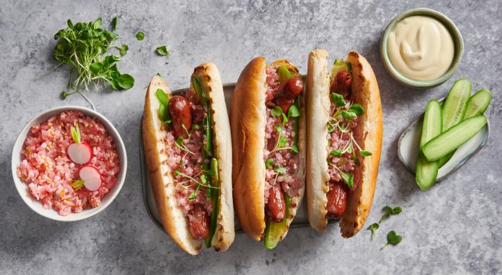 Hot dogs with radish relish