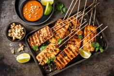 Grilled tandoori and tofu skewers
