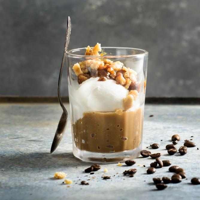Coffee Granita with Hot Caramelized Nuts