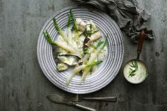 White radishes in tarragon sauce with whitefish fillets